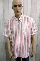 TOMMY HILFIGER Camicia Uomo Taglia 2XL Cotone Shirt Chemise Casual Manica Corta