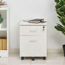 More details for vinsetto 2-drawer locking office filing cabinet 5 wheels rolling storage white