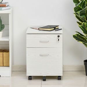 Vinsetto 2-Drawer Locking Office Filing Cabinet 5 Wheels Rolling Storage White