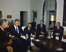 President John F. Kennedy meets with LBJ McNamara and others - New 8x10 Photo