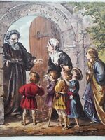 ANTIQUE PRINT 1872 SUFFER LITTLE CHILDREN TO COME UNTO ME ENGRAVING RELIGION ART