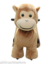 Electric Rechargeable Ride-on Plush Animal Rides - MINI MONKEY Giddy Up Rides