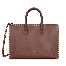 Valentino Rockstud Leather Tote - Brown