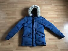 Men's Scotch & Soda Royal Blue Quilted Puffer Hooded Parka Jacket - Size Small