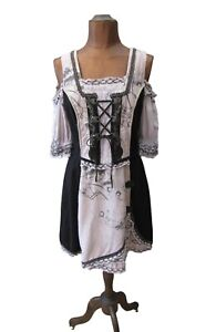 Dirndl Dress Tyrol Oktoberfest Austrian Bavarian Traditional Corset UK 14