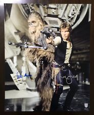 Harrison Ford/Mayhew Official Pix Star Wars Solo Movie Signed Topps 16x20 Photo.