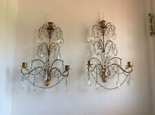 OMG Antique VTG ITALIAN MACARONI BEADED CRYSTAL PRISM Sconces