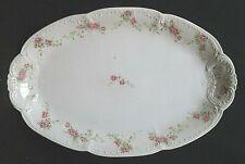 "Antique CARLSBAD CROWN 14"" Platter CAR60 Pink Roses Embossed Scalloped VHTF"