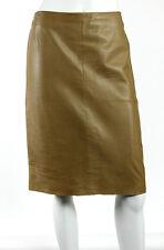 PRADA Hazel Brown Nappa Leather Knee Length Pencil Skirt 44