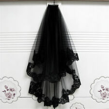 Black Lace Edge With Comb Elbow Bridal Wedding Cathedral Mantilla Tulle Veil