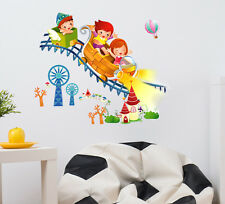 57000211 | Wall Stickers Kids Riding Roller Coaster