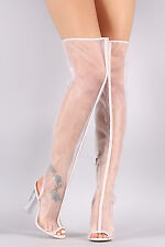 New Women Peep Toe Mesh Over The Knee Boot Lucite Clear Perspex Chunky High Heel