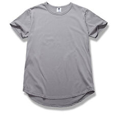 Men's T-Shirt Long Extended Casual Fashion T-Shirt Basic Crew Neck Hip Hop Tee