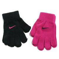 Nike Girl's Everyday Solid Black/Pink Knit 2-Pack Gloves Sz. 7/16