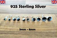 925 Sterling Silver - Yin Yang Stud Earrings Beautiful - 4mm - 8mm Sizes