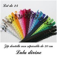 Lot de 24 Zips/ Fermetures éclair dentelle non séparable de 20 cm, Couleur Mix