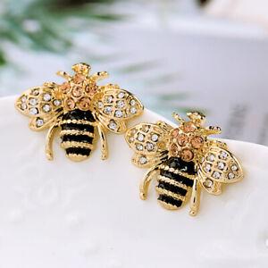 New Betsey Johnson Gold Crystal Cute Bee Stud Ear Earrings Women Fashion Jewelry