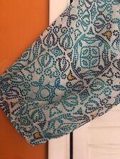 2X New Floral Tribal Blue White TUNIC BOHO PEASANT TOP BLOUSE Vintage 3X 22/24