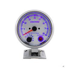3.75'' Blue LED Car Tachometer Gauge White Racing 0-8000 RPM Meter + Shift Light