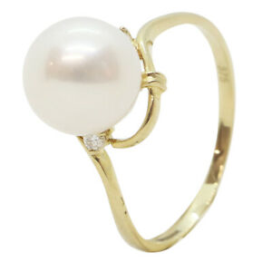 9ct Yellow Gold Fancy Pearl and Diamond Twisted Engagement Dress Ring