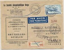 1947 Ireland 1st Flight Cover Brussels Belgium to Dublin Sabena Scarce Now
