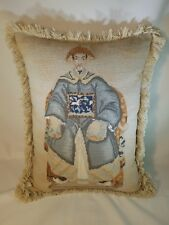 "Handmade Wool Needlepoint Chinese Emperor Pillow with Bush Tassel 18"" x 14"""