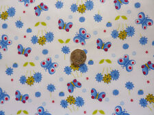 blue flowers butterfly print children Fabric - 5 metres