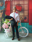 New 3in1 Fashion Black Suit Coat Shirt Pants Clothes For 12 inch Ken Doll