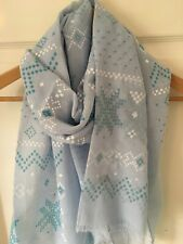 Bright, Fresh Scandinavian Inspired Scarf With A Feathered Edge In Blue