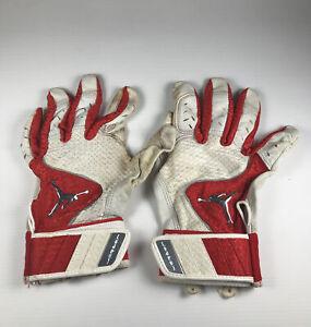 Men's Red and White Jordan Batting Gloves Size Medium