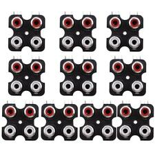 10x PCB Mount AV Concentric Outlet 4 RCA Female Socket Jack Connector Board