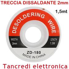 TRECCIA DISSALDANTE 2mm LUNGHEZZA 1,5M RETINA RETE SALDATURA STAGNO SALDANTE