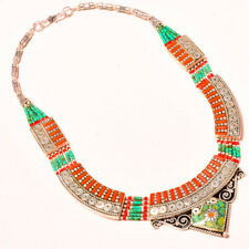 """Gifted Nepali Tibetan Necklace 18"""" Elegant Red Coral With Turquoise Love"""