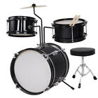 "3 Piece 12"" Complete Kids/Junior Child Drum Set Cymbal Kit Stool & Sticks Black"