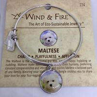 Wind and Fire Dog Maltese Bangle Bracelet Russian Silver Expandable
