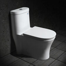Modern Dual Flush One-Piece Siphonic Toilet with Slow Close Seat & Lid in White