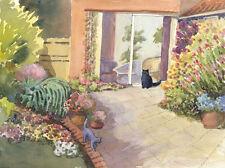 Künstlerische Aquarelle (ab 1945) mit Katze-Tierart