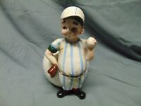 "Vintage Relpo Japan ceramic Vase / Planter of Baseball player ball & mitt 8"" x 5"