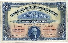 Commercial Bank of Scotland   Bank Five  Pound £5 Banknote 1934
