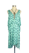 LEONA EDMISTON Dress- Geometric Print Mint Green Black Stretch Tie Draped- 12/14
