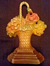 Vintage Cast Iron Hubley Flower Basket Door Stop - Exc Condition