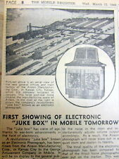 1946 newspaper wth 1st Photo of Invention of the Electronic Phonograph Juke Box