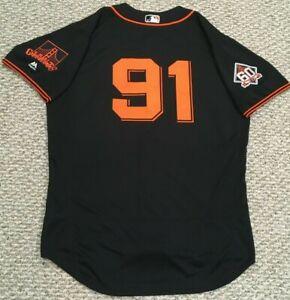 CHOP size 48 #91 2018 SAN FRANCISCO GIANTS TEAM ISSUED jersey home black ALT MLB