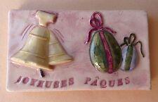 Fève Plaque Décoration de Gâteau du MH - Joyeuses Pâques : Cloches & Oeufs