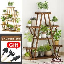 More details for 7-tier wood flower rack plant stand wood shelves bonsai display shelf indoor uk
