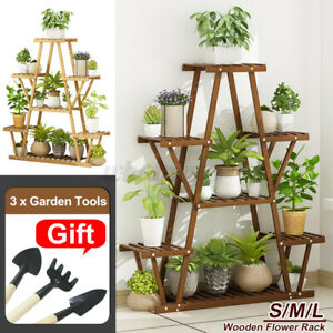 7-Tier Wood Flower Rack Plant Stand Wood Shelves Bonsai Display Shelf Indoor UK