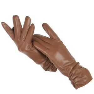 💥Women Girls Genuine Real Leather Classic Pleated Sheepskin Luxury Long Gloves✅