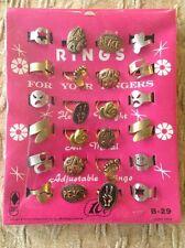 1980 Vending Machine Display Card Metal Rings Hong Kong Love Peace Heart Star