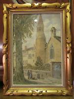 ancien tableau aquarelle signé a cornottier 1951 eglise animee encadré