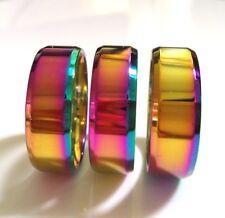Bulk lots 100pcs Men Women Rainbow 8mm Bright Color Stainless Steel Wedding Ring